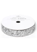 "Лента ""Solid Large Glitter Ribbon-Silver"" от American Crafts"