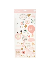 "Набор стикеров ""Night Night Baby Girl Icons & Accents W/Gold Foil"" от Pebbles"