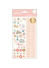 "Набор стикеров ""Night Night Baby Girl Phrases & Icons W/Silver Foil"" от Pebbles"