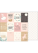 "Лист бумаги ""Sweet Baby Girl Cards"" коллекции ""Night Night Baby Girl"" от Pebbles"