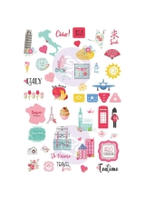 Стикеры Prima Marketing - Julie Nutting Travelling Girl Cardstock Stickers 5inch X7inch 4 Pack Words & Icons